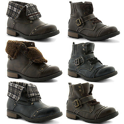 New Kids Boys Girls Smart Vintage Look Fold Over Casual Ankle Boots Size UK 13-5