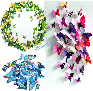 Image Is Loading 3D Butterfly Wall Sticker Fridge Magnet Room Home  Part 84