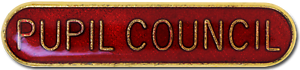 Pupil Council Pin Badge in Red Enamel With Rounded Edge
