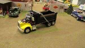 CUSTOM BUILT GREY PETE 385 SINGLE AXLE SEMI DAY CAB DUMPTRUCK DUMP TRUCK 1:64//