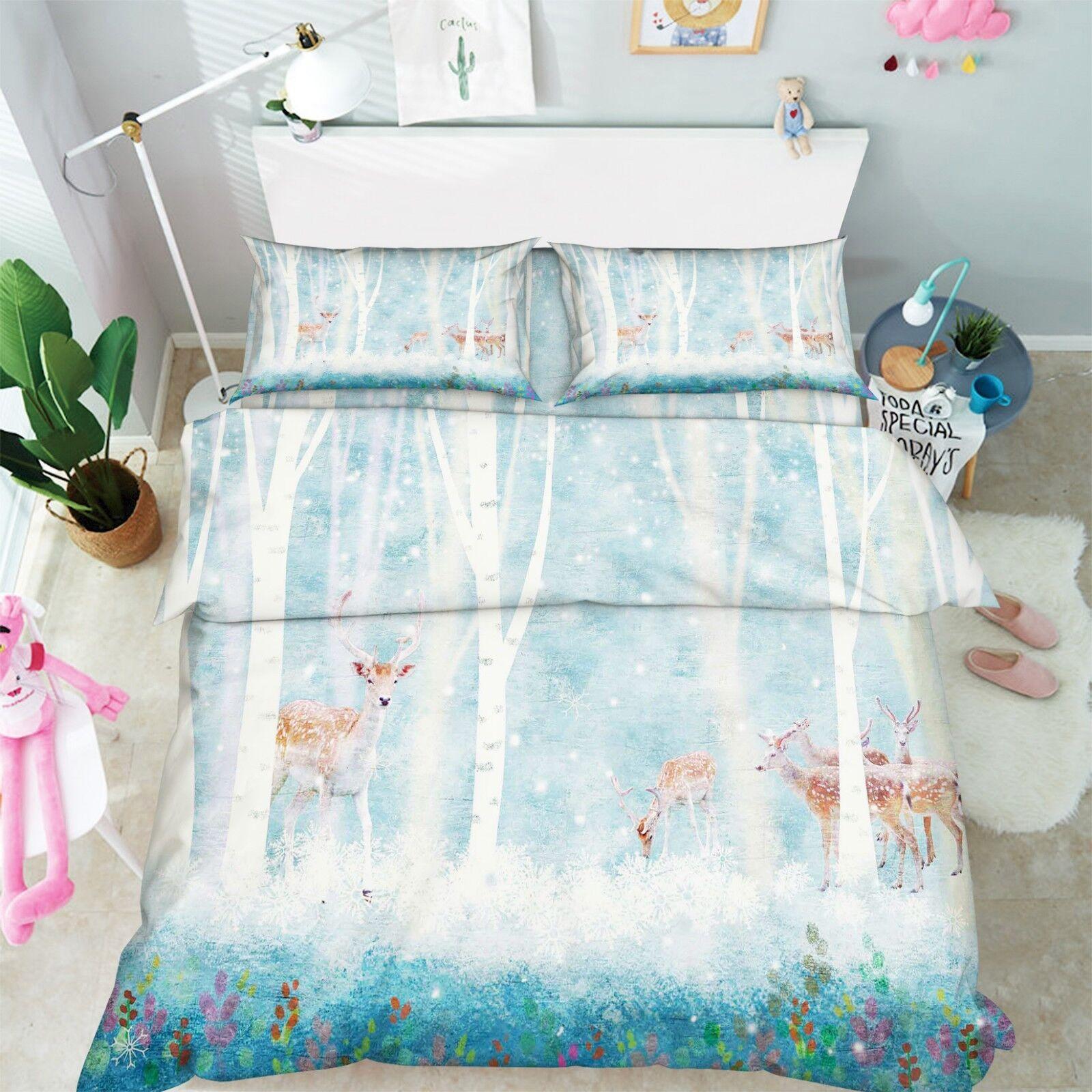 3D Winter Wood Deer 6 Bed Pillowcases Quilt Duvet Cover Set Single King UK Lemon