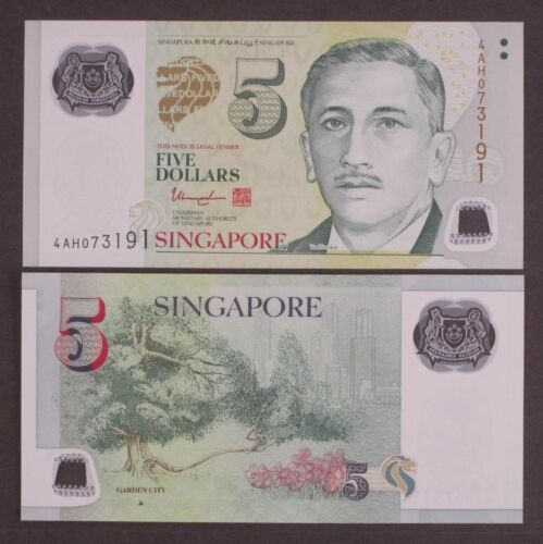 2014 P-47 Garden City Full Triangle Polymer Unc Singapore 5 Dollars