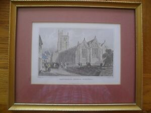 Framed-1830-039-s-Original-Hand-Painted-Lithograph-Etching-of-Launceston-Church-VGC