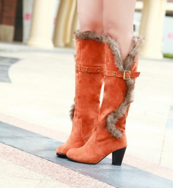 Xmas Womens Winter Oxford Suede Knee High Ridding Boots Knight  High Heel shoes