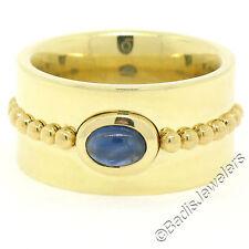 Georg Jensen 18K Yellow Gold Bezel Cabochon Sapphire Wide Heavy Band Ring Sz6.5