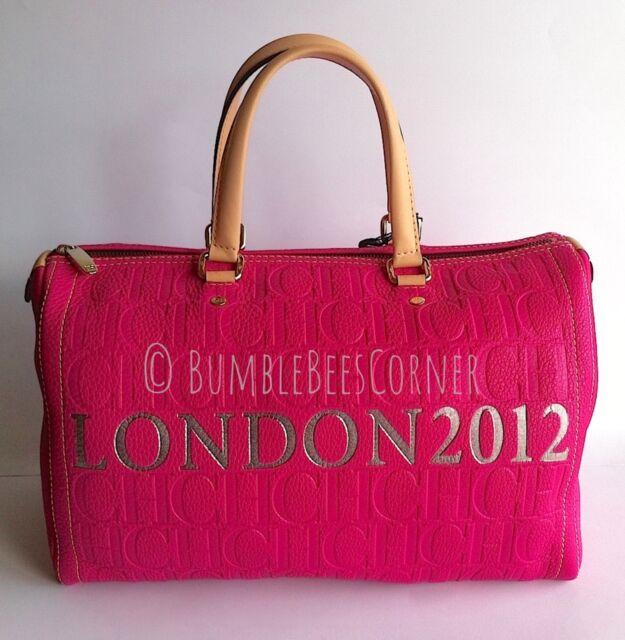 Carolina Herrera Andy Fuchsia Leather Embossed Ch Monogram Ltd Ed Tote