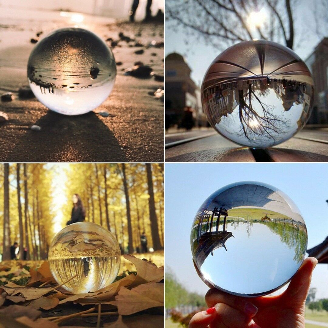 Clear Glass Crystal Ball Healing Sphere Photography Props Lensball Decor 30-80MM 2