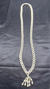 Vintage-1950-s-white-woven-imitation-pearl-beaded-long-necklace-tassel