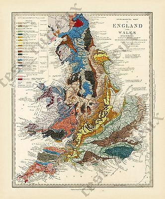 Old Geological map England /& Wales  R Murchison 1842 British geology art poster