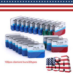 USPS-100pcs-Dental-Diamond-Burs-for-High-Speed-Handpiece-Medium-FG-1-6M-AZDENT
