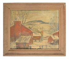 Russian School Modern  singed Winter Landscape With houses tree & Snow oil