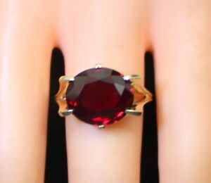 NICE-Estate-Ladies-10K-Gold-10-Ct-Oval-Dark-Garnet-Solitaire-Oval-Ring-Size-7-25