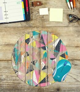 Grungy Wood Look Round Mouse Pad Easy Glide Non Slip Neoprene