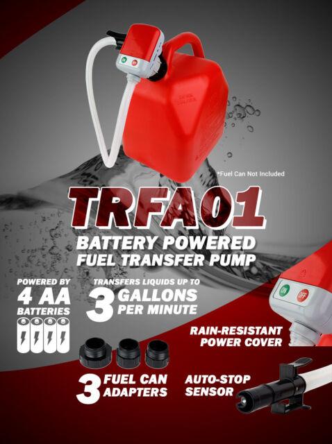 Terapump TRFA01 Battery Operated Fuel Gas Diesel Transfer Pump Auto Stop Sensor