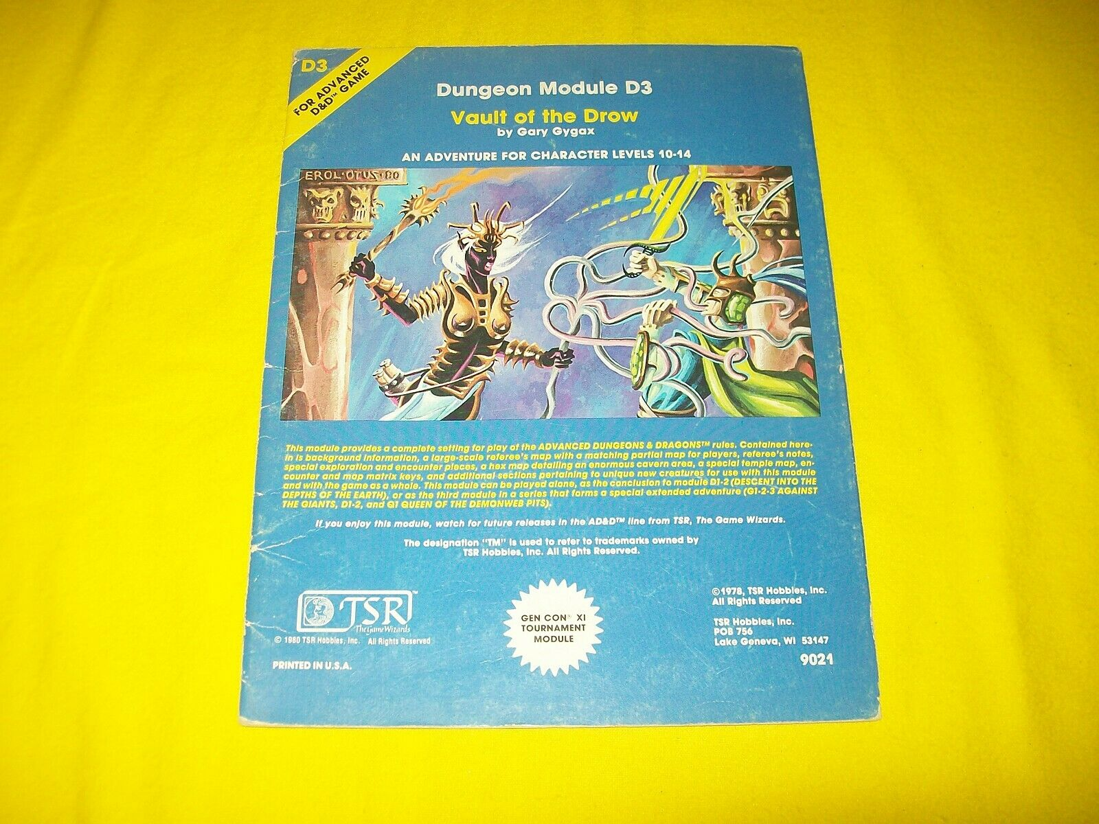 D3 VAULT OF THE DROW DUNGEONS & DRAGONS AD&D TSR 9021 - 2 MODULE