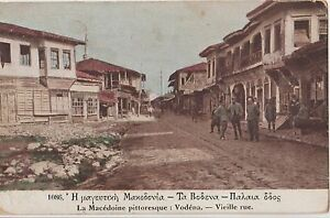 GREECE-1917-THESSALONIKI-MACEDONIA-VODENA-OLD-STREET