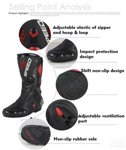 Waterproof Motorbike Boots Motorcycle Racing Shoes Long High Ankle Sports Gears