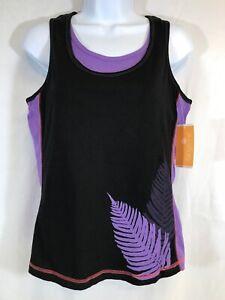 TANGERINE Womens Tank Top Shirt Black & Purple Exercise Active Fitness NWT Sz M