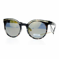 Womens Sunglasses Round Designer Fashion Marble Print Mirror Lens