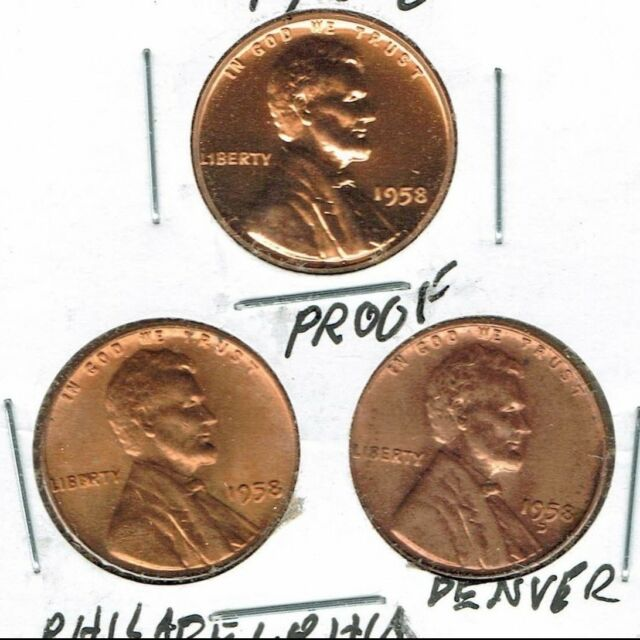 1958 1C RD (Proof) Lincoln Cent with Uncirculated Philadelphia & Denver:3 Coins!