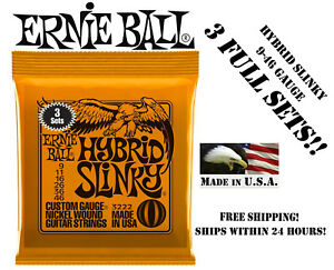 3-SETS-ERNIE-BALL-2222-HYBRID-SLINKY-ELECTRIC-GUITAR-STRINGS-9-46