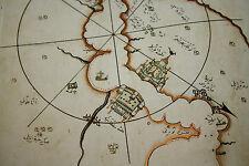 RARE OTTOMAN TURKISH MANUSCRIPT FACSIMILE THE WORLD MAP OF PIRI REIS 1513