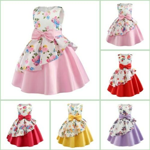 Princess Formal Kid Bridesmaid Flower Party Tutu Wedding Dresses Baby Girl Dress