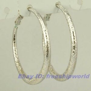 1.5 REAL CHIC 18K WHITE GOLD GP HOOP EARRING SOLID FILL GEP FROSTED RING EARBOB