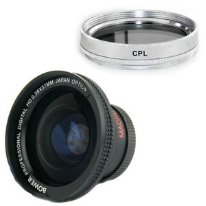 Bower 37mm 0.38x Wide fishey Lens + CPL Filter for Sony Camcorder HDR-SR11,SR-12