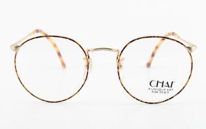 CHAI-Brille-No-8-Panto-FH26-48-21-140-Vintage-Eyeglasses-Frame-Men-Gold-NOS