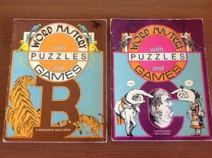 WORD-MASTERY-WITH-PUZZLES-AND-GAMES-two-RETRO-Vintage-BOOKS