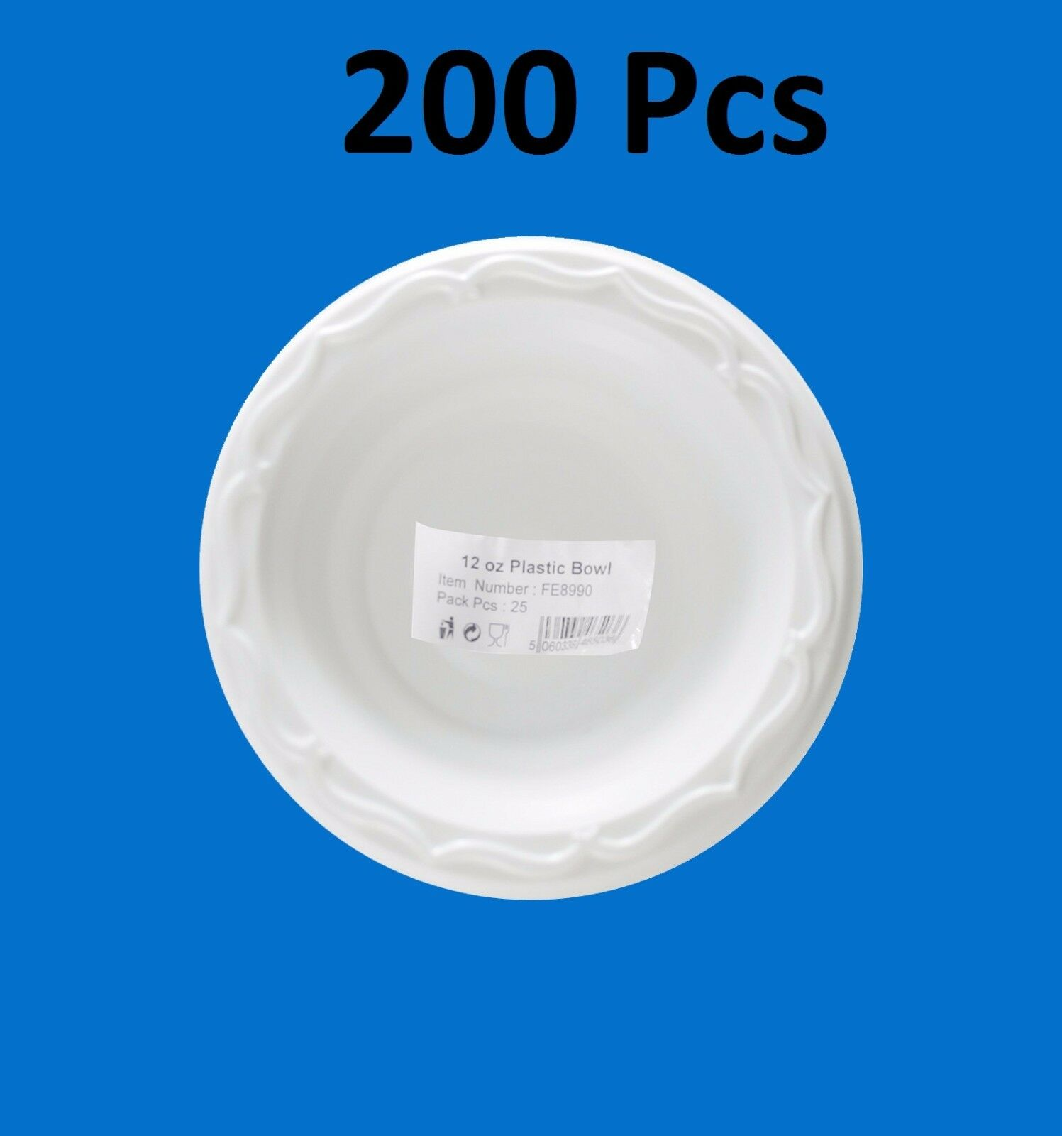 200pc H-Quality Extra Strong Disposable Weiß Plastic Bowls Microwave Safe 12oz