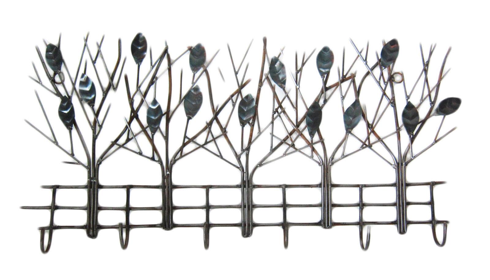 Metall Wandkunst Dekor Skulptur mit 6 6 6 Haken geformt wie Bäume mit Blätter silber | Ideales Geschenk für alle Gelegenheiten  8875a5