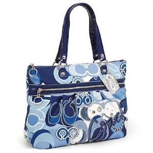 15375 Azul Poppy Tote Nuevo Blanco Applique Glam Coach Pop Denim Edición limitada CvXTnwq