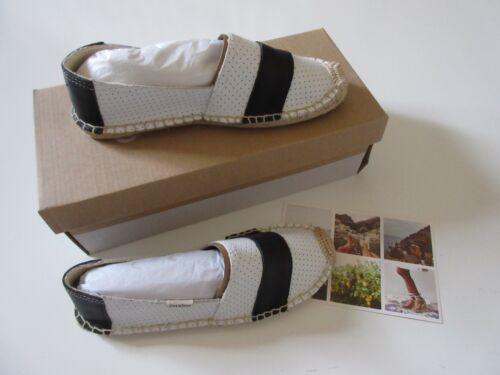 NIB Soludos Barca in Black /& White Perforated Leather Espadrille Slip-On Shoe 6