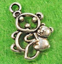 50Pcs. WHOLESALE Tibetan Silver BEAR & Baby Charms Pendants Earring Drops Q0238