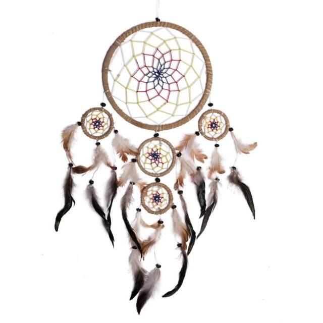 Traumfänger 35 x 60 cm Dreamcatcher Indianer, Hanf Wicklung, farbiges Netz (7,99