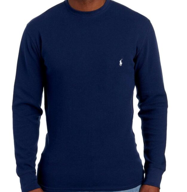 ab3263c2 Polo Ralph Lauren Mens Long Sleeve Thermal Waffle Knit T Shirt Navy Blue  Small