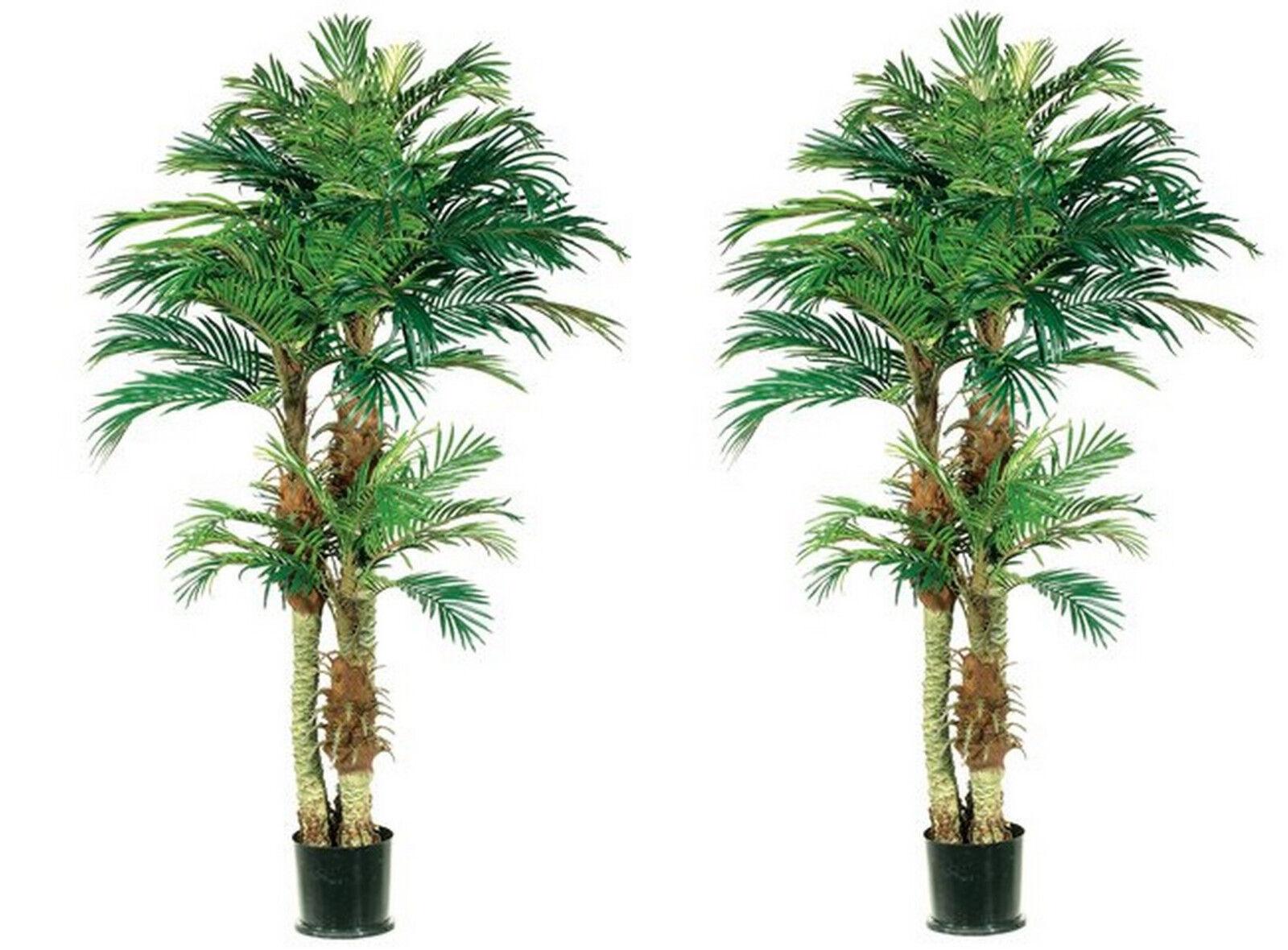 Two 6 foot Artificial Triple Trunk Phoenix Palm Trees Pot Areca 5 3 4 Date Pool