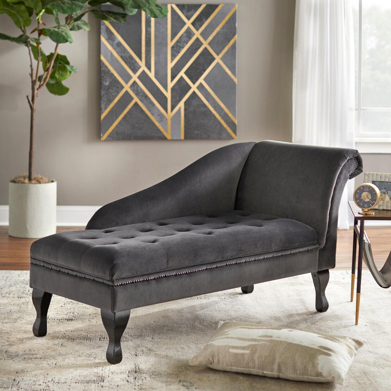 Dark Gray Grey Tufted Velvet Storage Chaise Lounge Sofa Chair W Hidden Storage For Sale Online