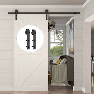 8FT-Carbon-Steel-Sliding-Wood-Barn-Door-Hardware-Kit-Track-Set-Black