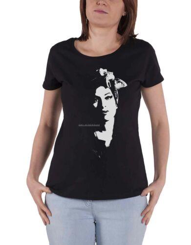 Amy Winehouse T shirt foulard Portrait Logo nouveau officiel Femme Skinny Fit Noir