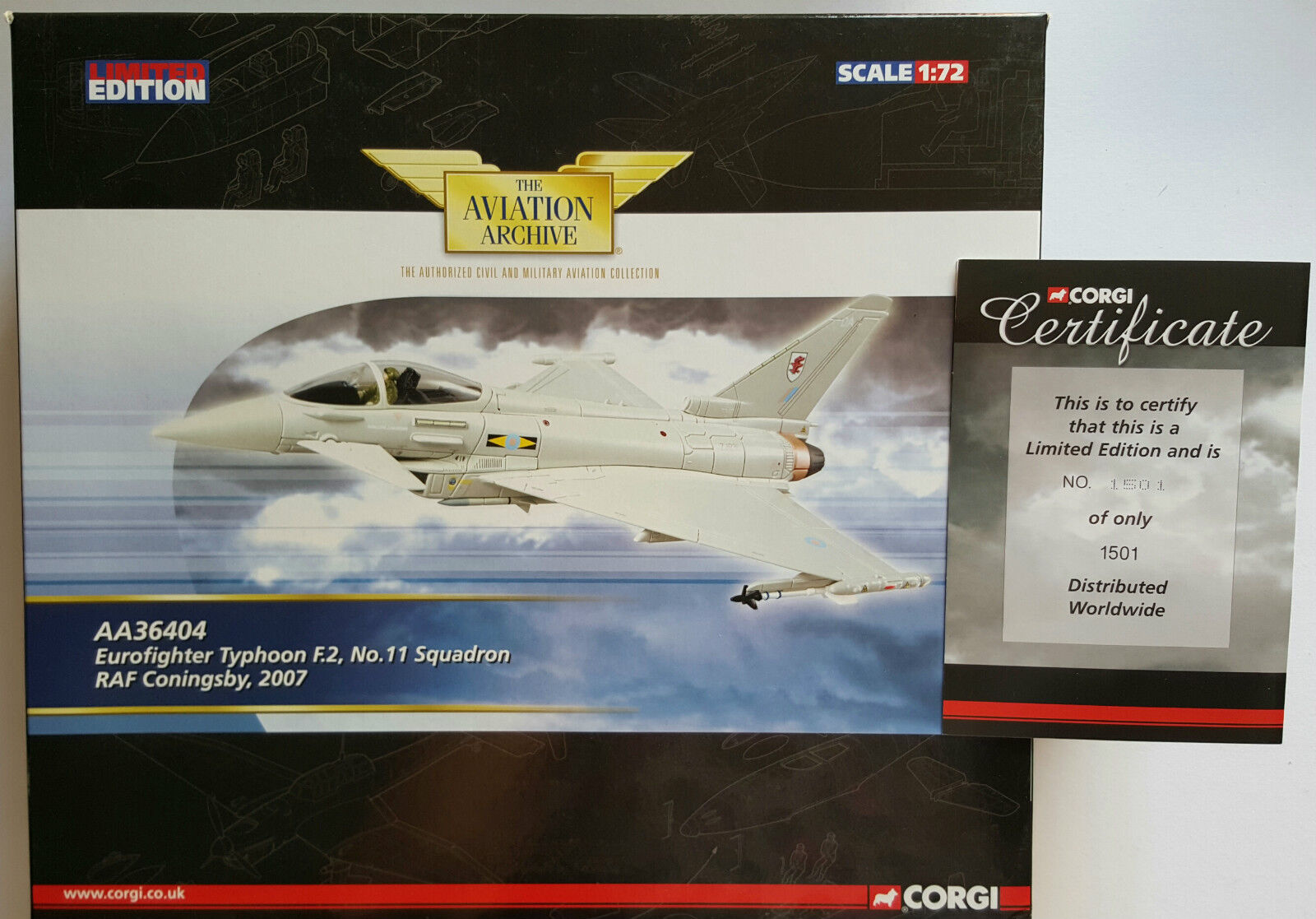Corgi Aviation Eurofighter Typhoon F.2 2007 AA36404 Certificate No 1501 of 1501