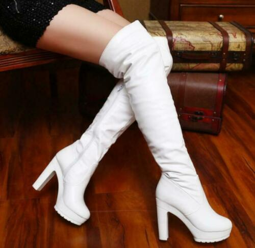 Women Round Toe Side Zip Platform Chunky Heel Riding Over Knee High Boots Shoes