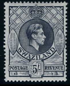 SWAZILAND-1938-54 5/- Grey Perf 13½ x 13 Sg 37 LIGHTLY MOUNTED MINT V13051