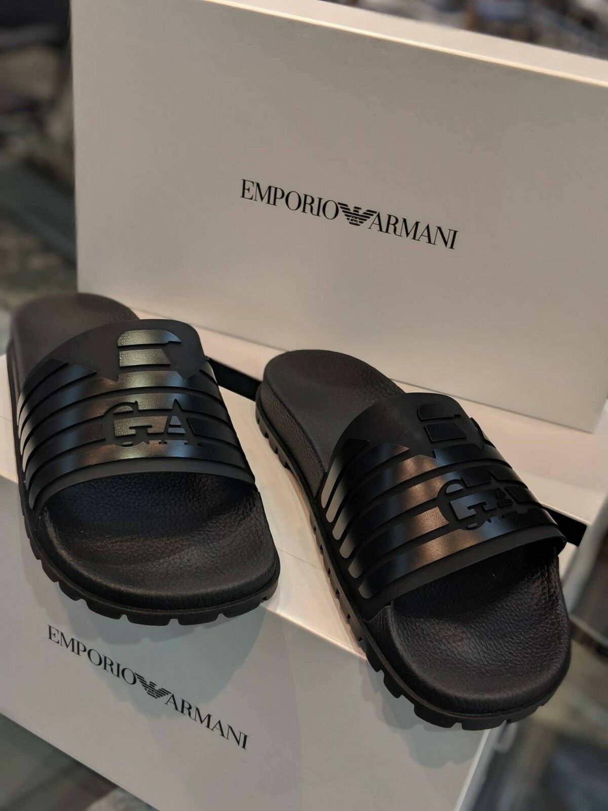 NWT EMPORIO ARMANI X4P077 XL273 POOL SLIDES BLACK 7 EU40 MADE ITALY EAGLE LOGO