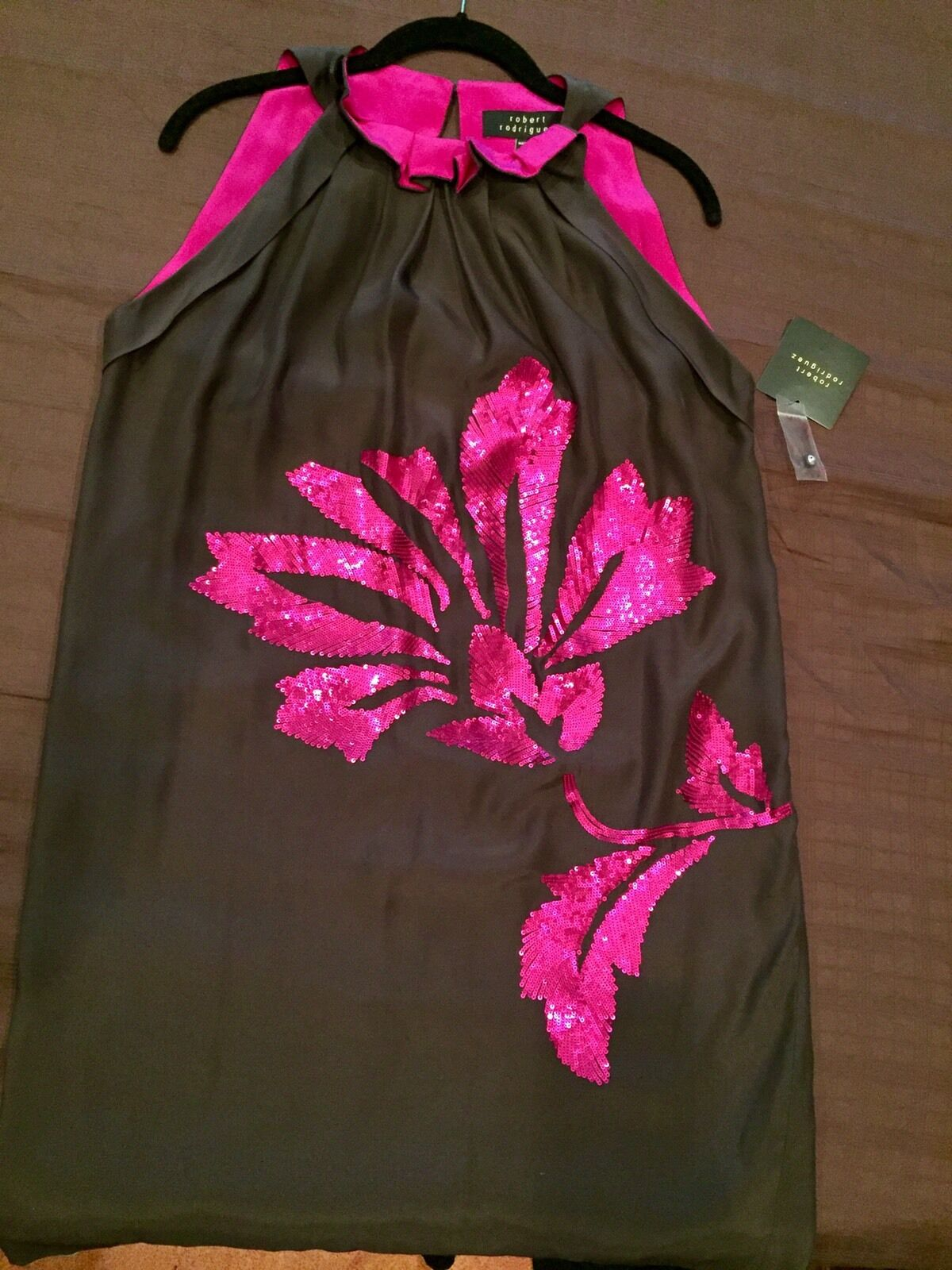 Robert Rodriguez women's dress in charcoal with fuchsia embroidering size 6