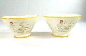 VTG-Ceramic-Deruta-Italian-Dish-Soup-Bowls-Chicken-Design-Made-in-Italy-Lot-of-2