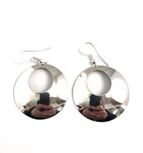 Native-American-Sterling-Silver-Navajo-Handmade-Plain-Silver-Earring