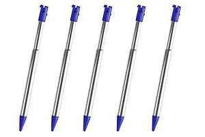 5x-3DS-Blau-Silber-Stylus-Metall-Ausziehbarer-Touch-Pen-fuer-Nintendo-Neu